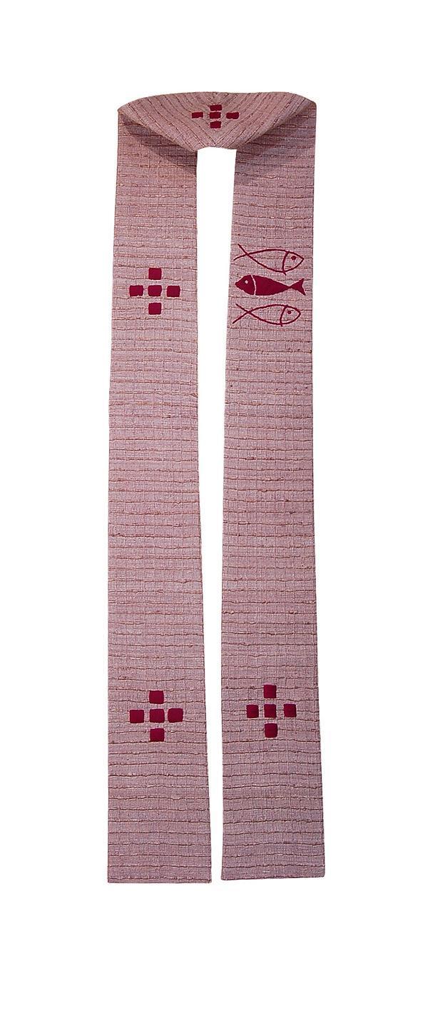 Stola SM200 M1 Rosa - Ricamo a Mano - Seta Greggia Quadri