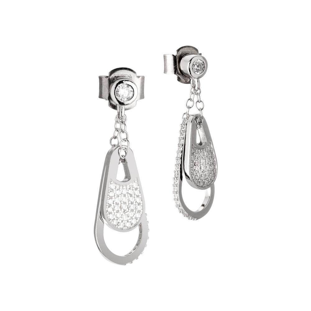 Collezione: CHANTAL Orecchini in argento con pendente a goccia in zirconi