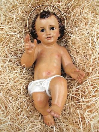 Gesù Bambino in pasta di legno cm. 50