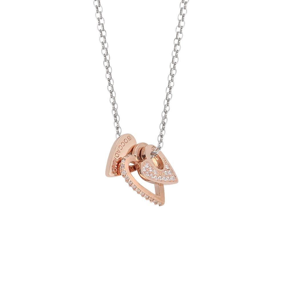 Collezione: CHANTAL   Collana doppio filo bicolor con elementi a cuore e zirconi