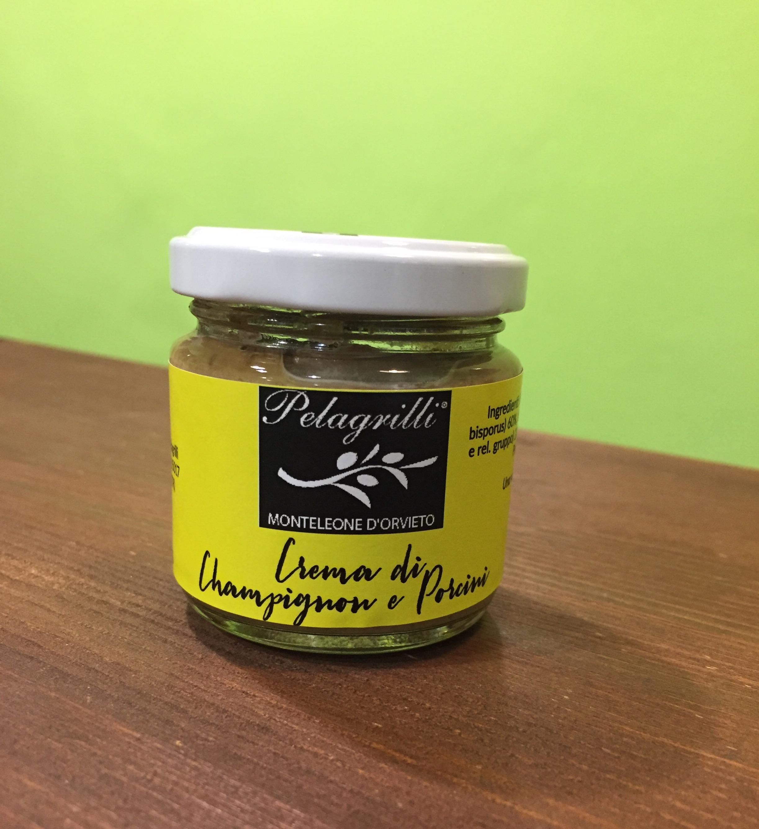 Crema di Champignon e Porcini con olio extra vergine di oliva Pelagrilli