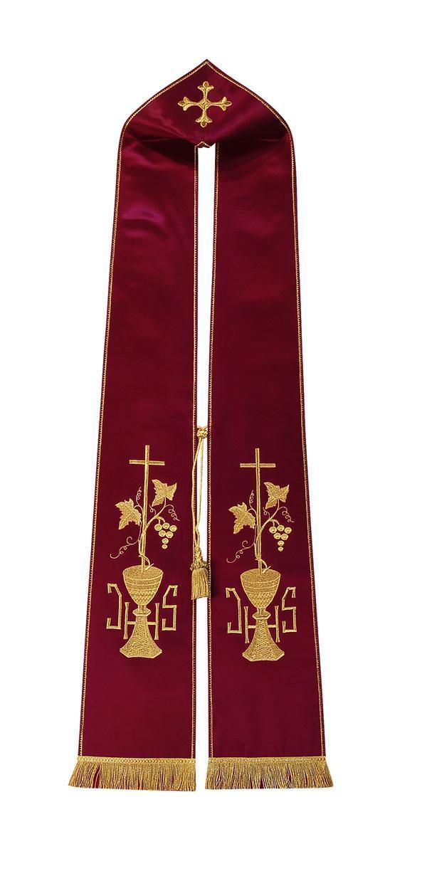 Stola S14 M0 Rossa - Calice e Croce - Faille Misto Lana