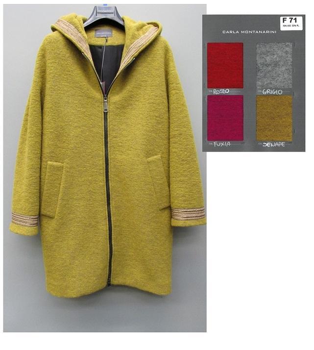 Cappotto con cappuccio e zip davanti
