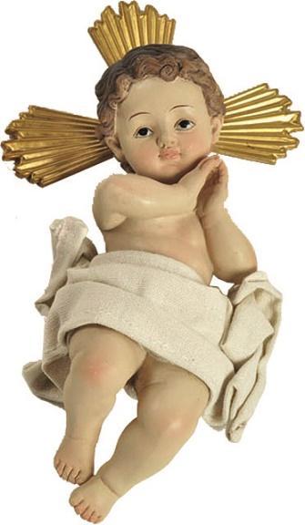 Gesù Bambino in resina con aureola dorata cm. 24