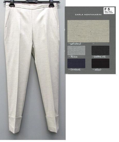 Pantalone capri con tasche fascetta e risvolto alto