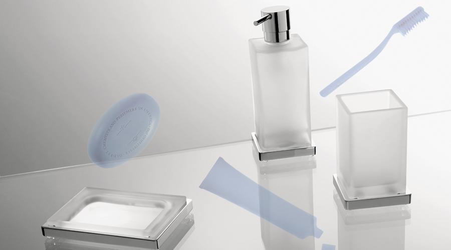 Porta sapone da appoggio per il bagno serie Look Colombo design