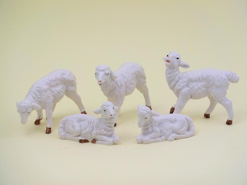 Serie 5 pecore bianche cm. 12