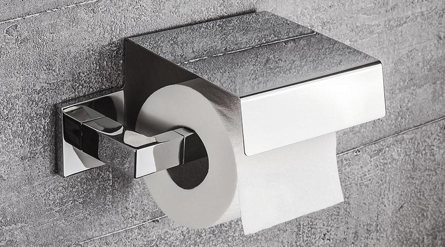 Porta rotolo con coperchio per il bagno serie Basic Q Colombo design