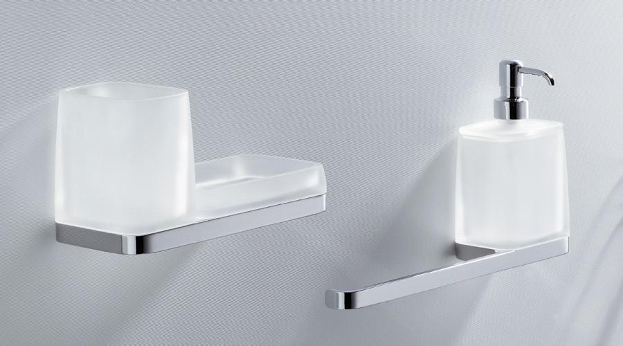 Porta bicchiere e dispenser dosa sapone per il bagno serie Time Colombo design