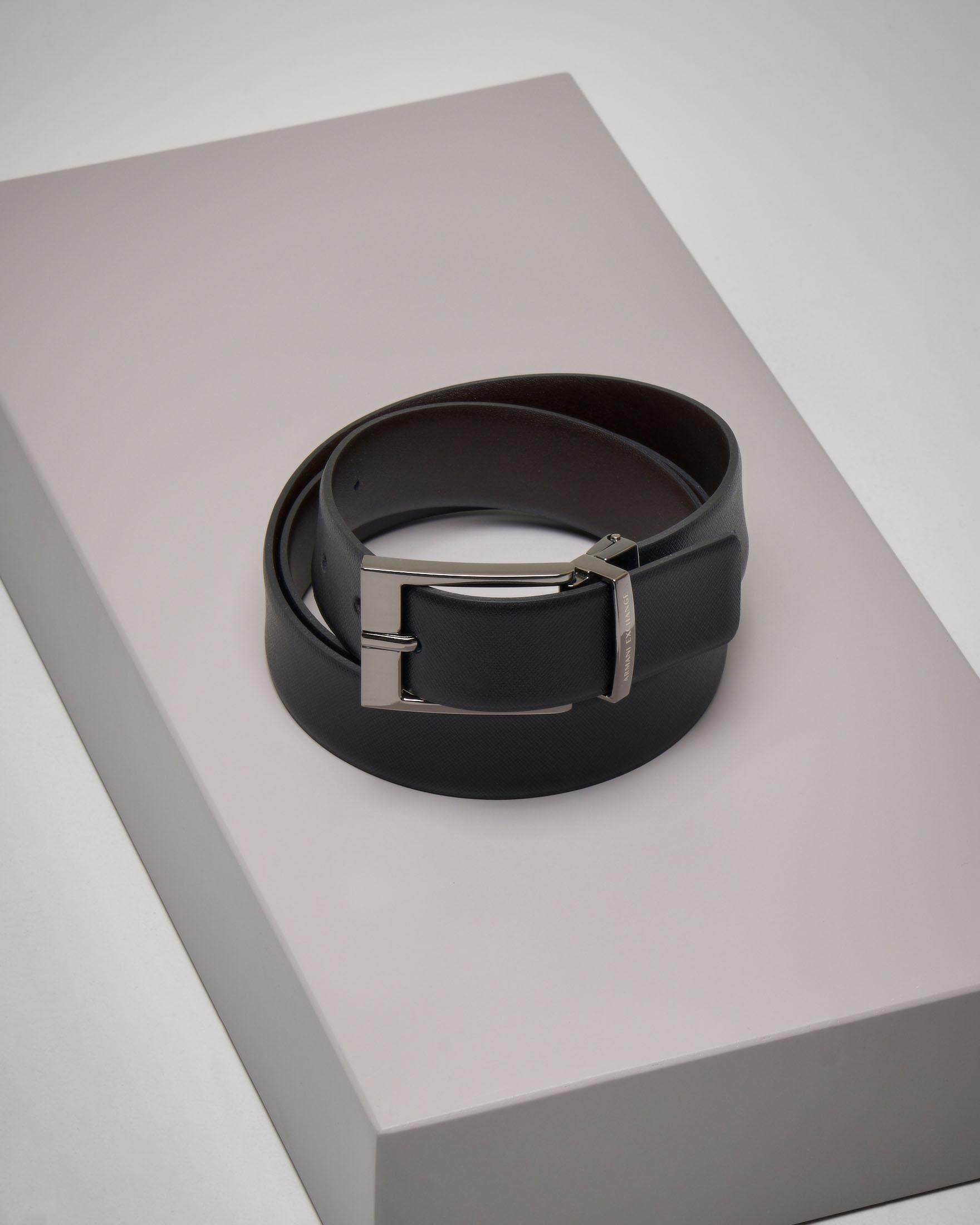 Cintura reversibile in pelle saffiano
