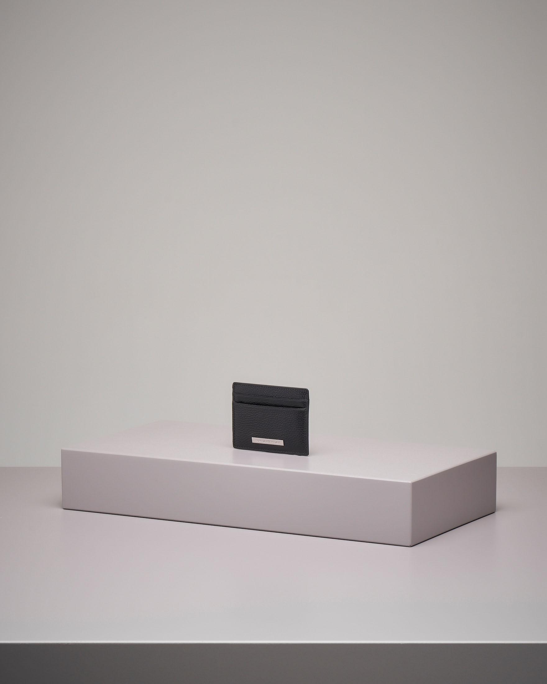 Porta carte nero in pelle