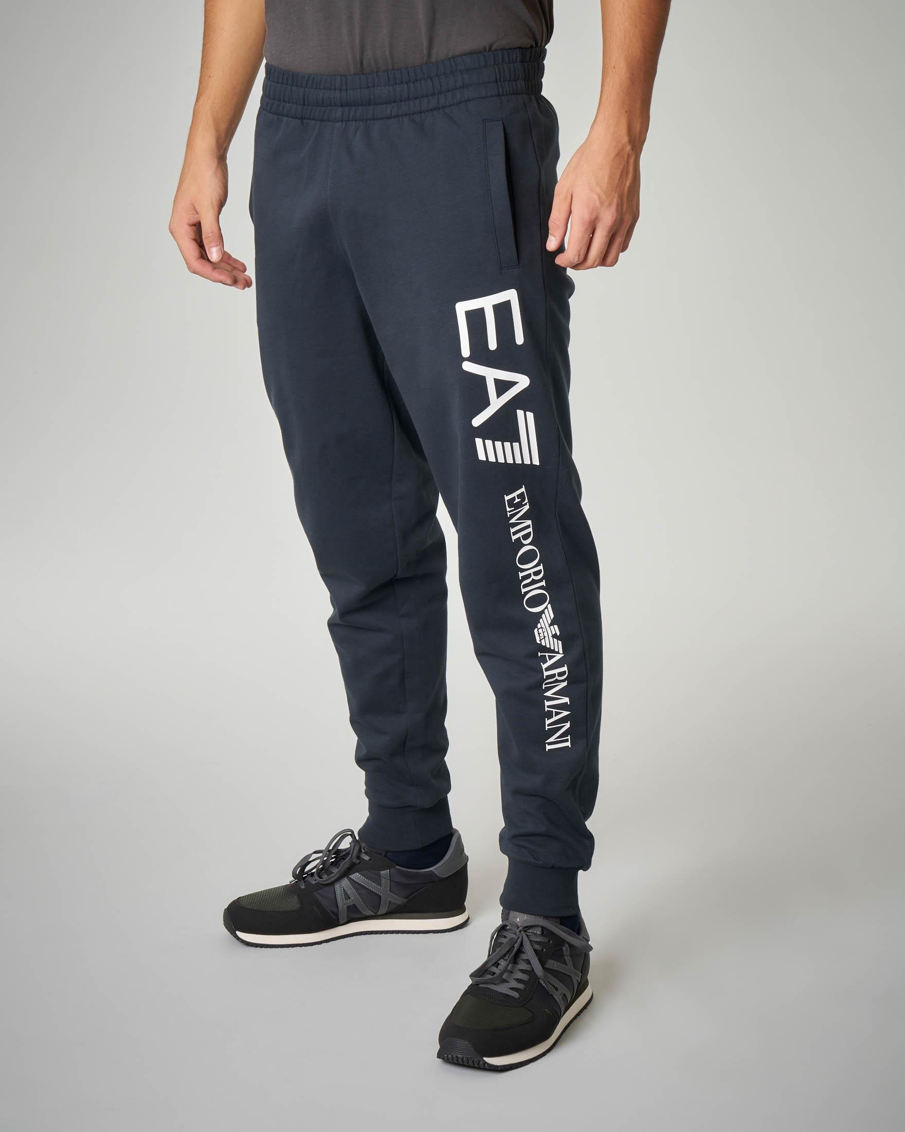 Pantalone blu in felpa leggera maxi-logo