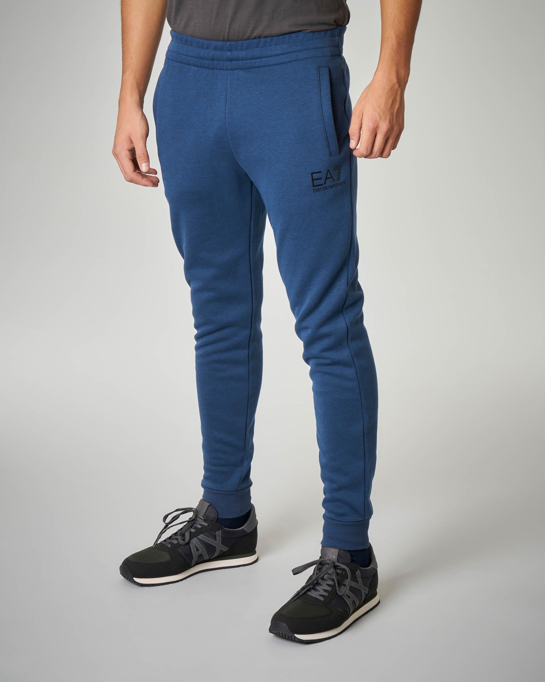 Pantalone blu melange in felpa leggera