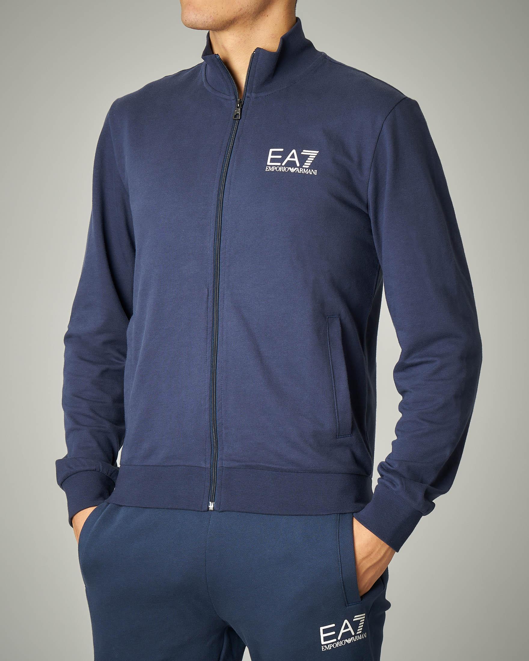 Felpa blu leggera con zip e logo