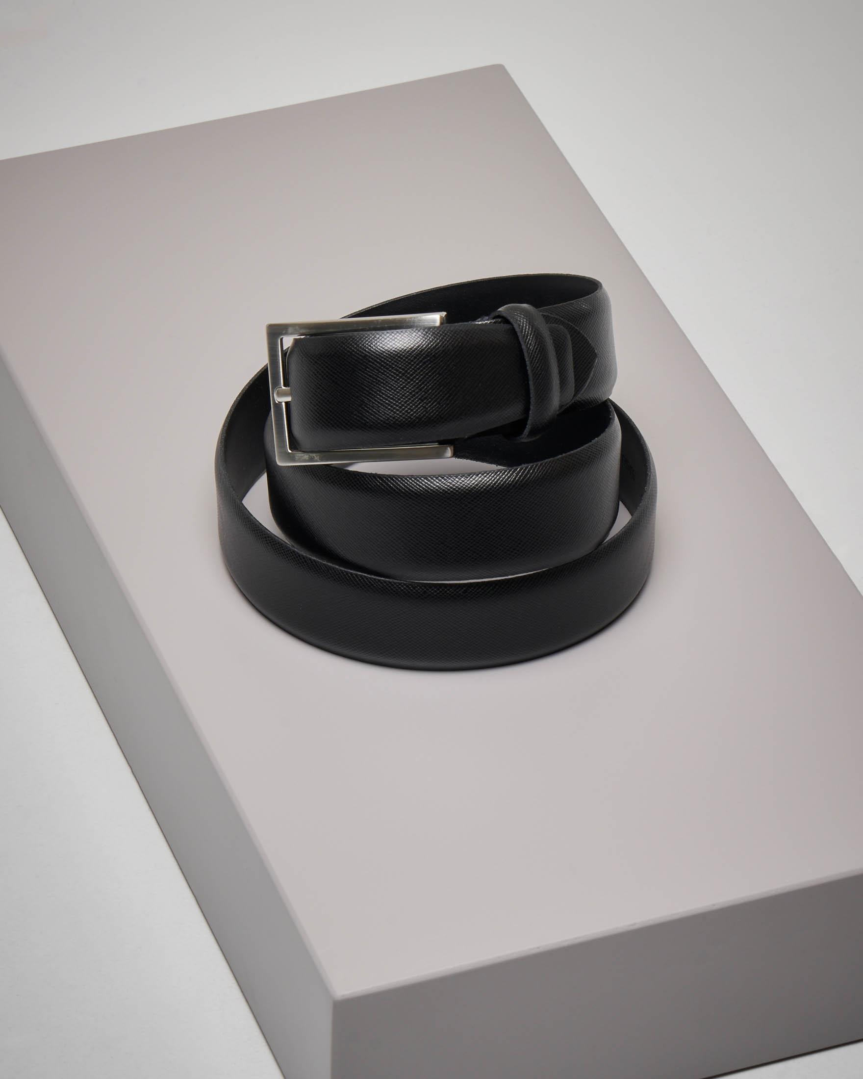 Cintura nera in pelle saffiano