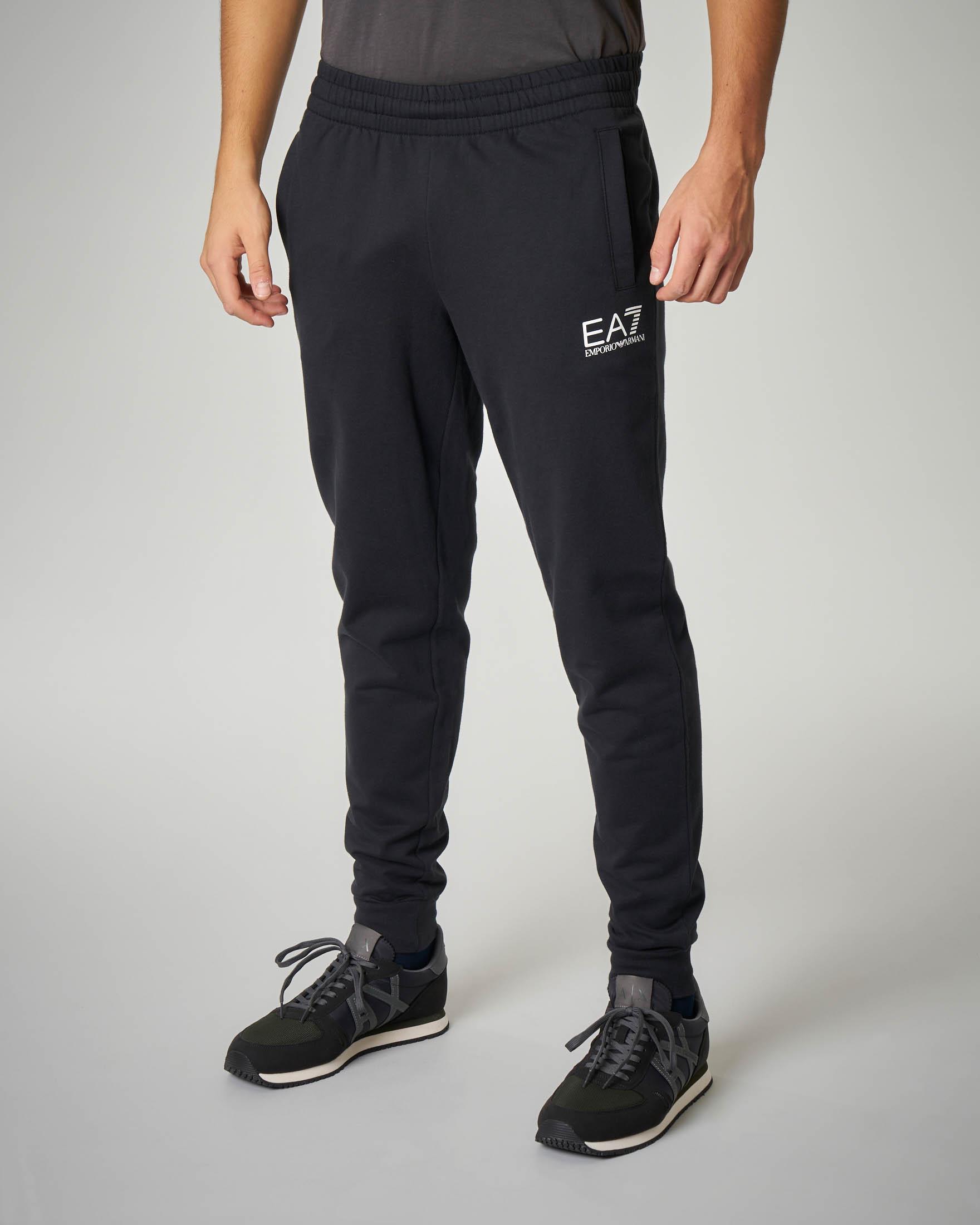 Pantalone nero in felpa leggera logo piccolo