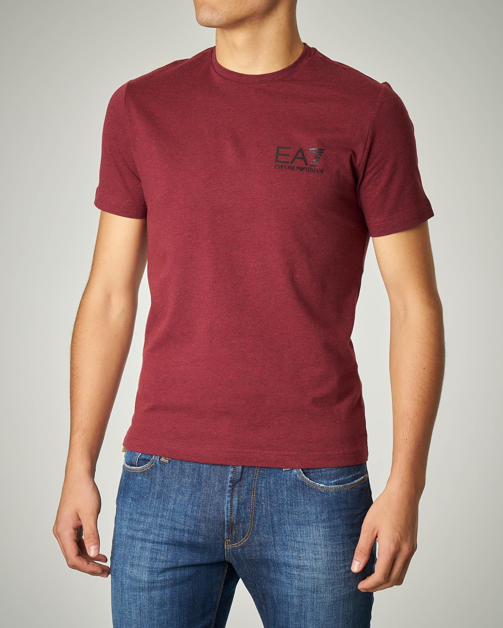 T-shirt bordeaux in cotone stretch