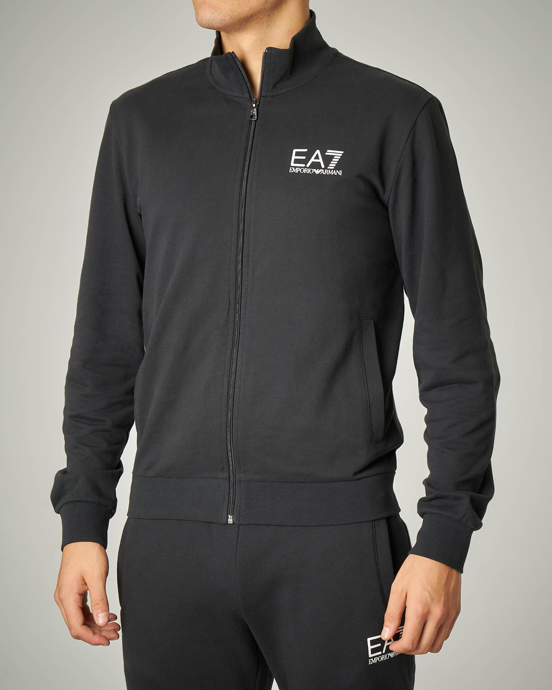 Felpa nera leggera con zip e logo