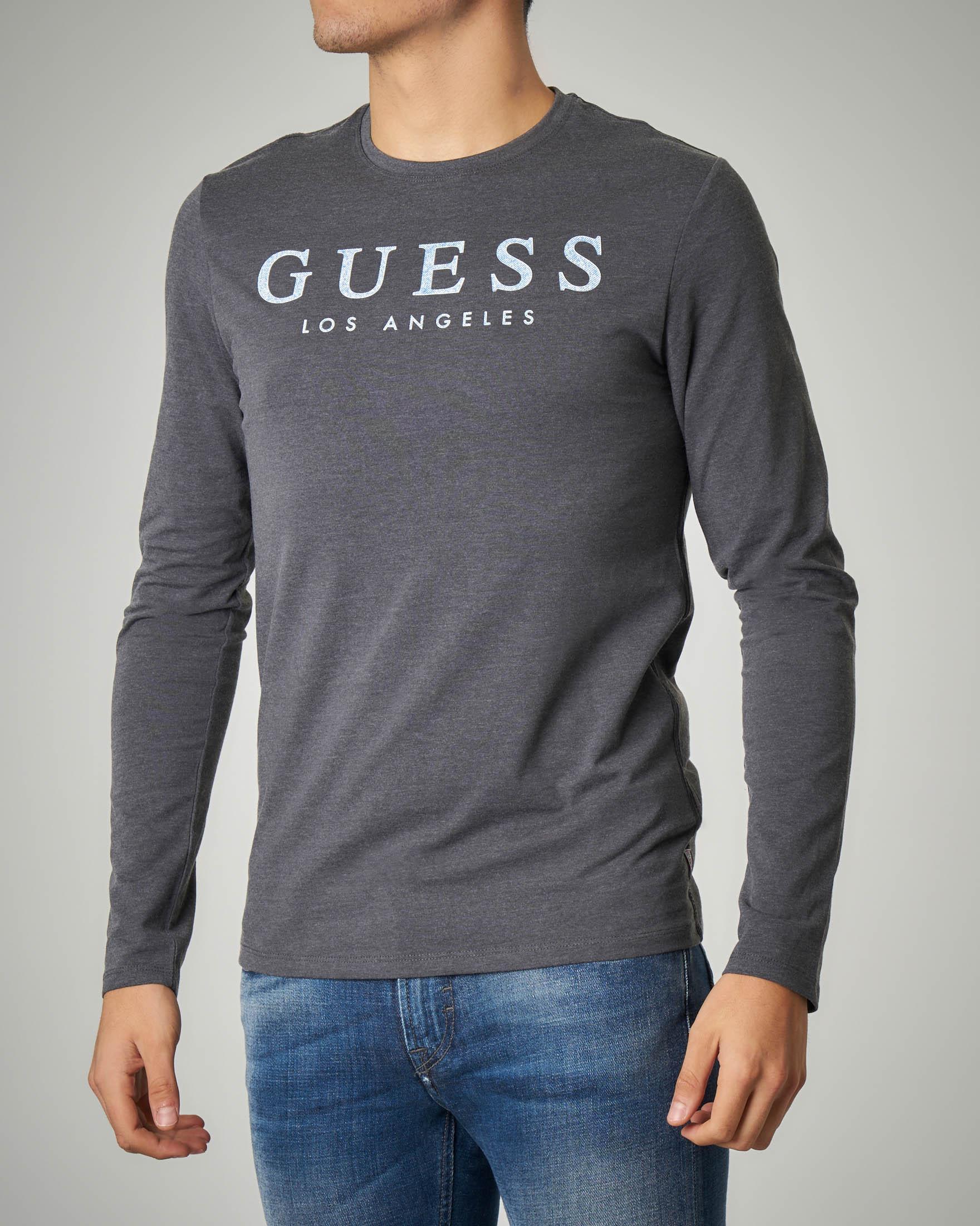 T-shirt grigia a manica lunga con logo