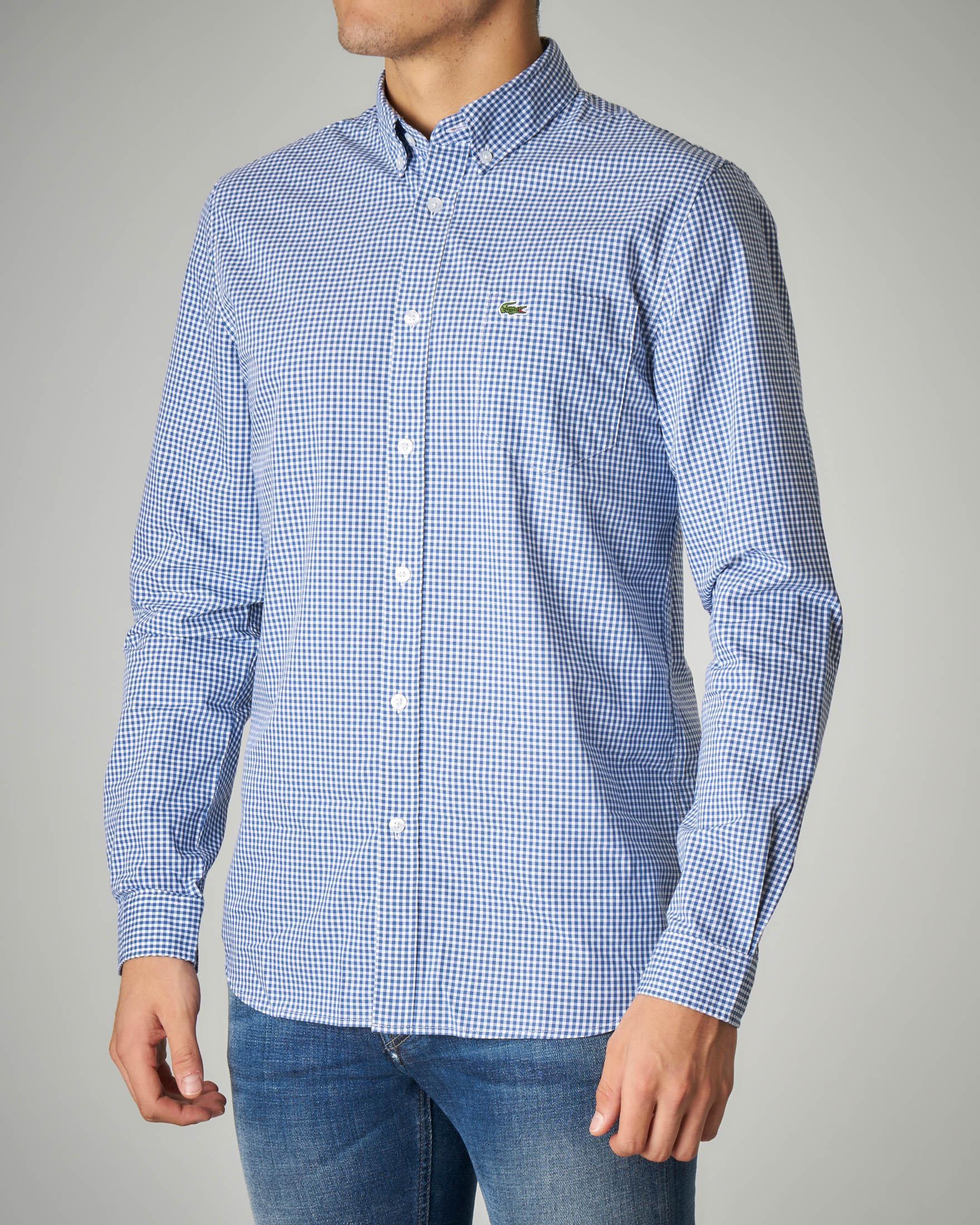 Camicia azzurra a quadretti con taschino