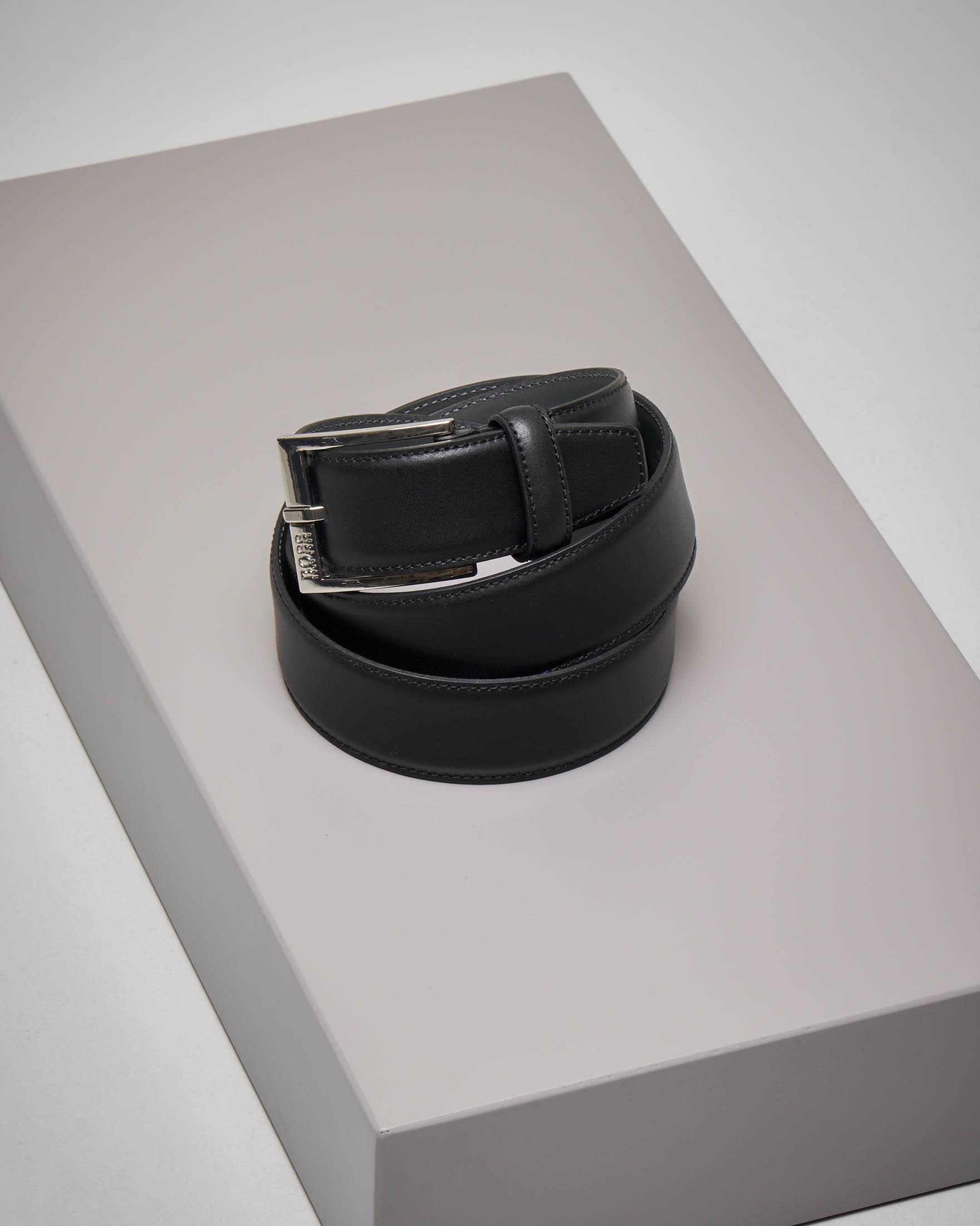 Cintura nera in pelle