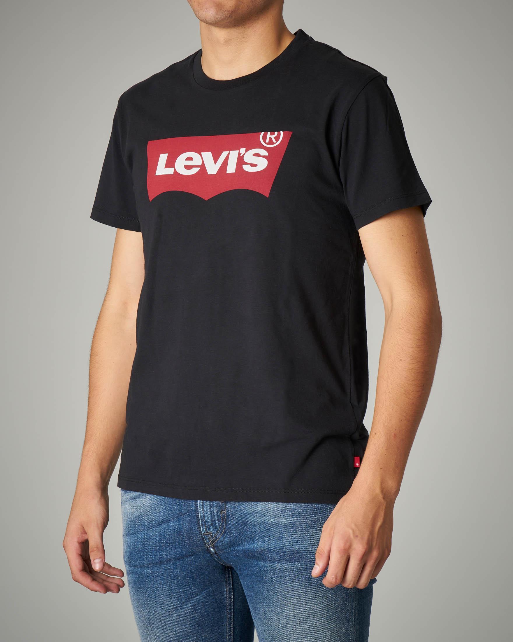 T-shirt logo batwing nera