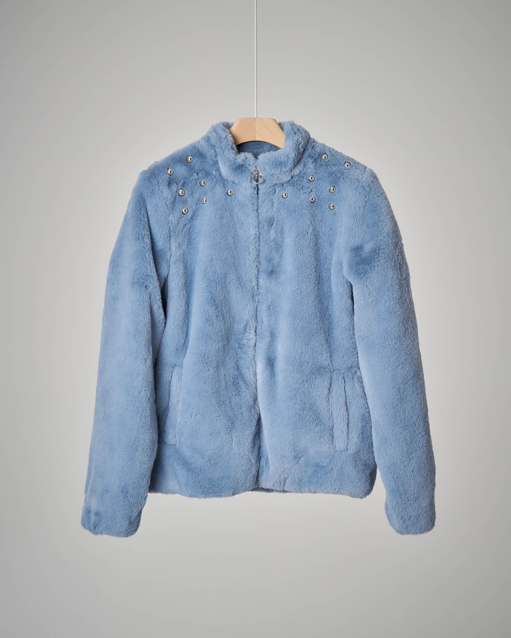 Bomber azzurro ecopelliccia borchie