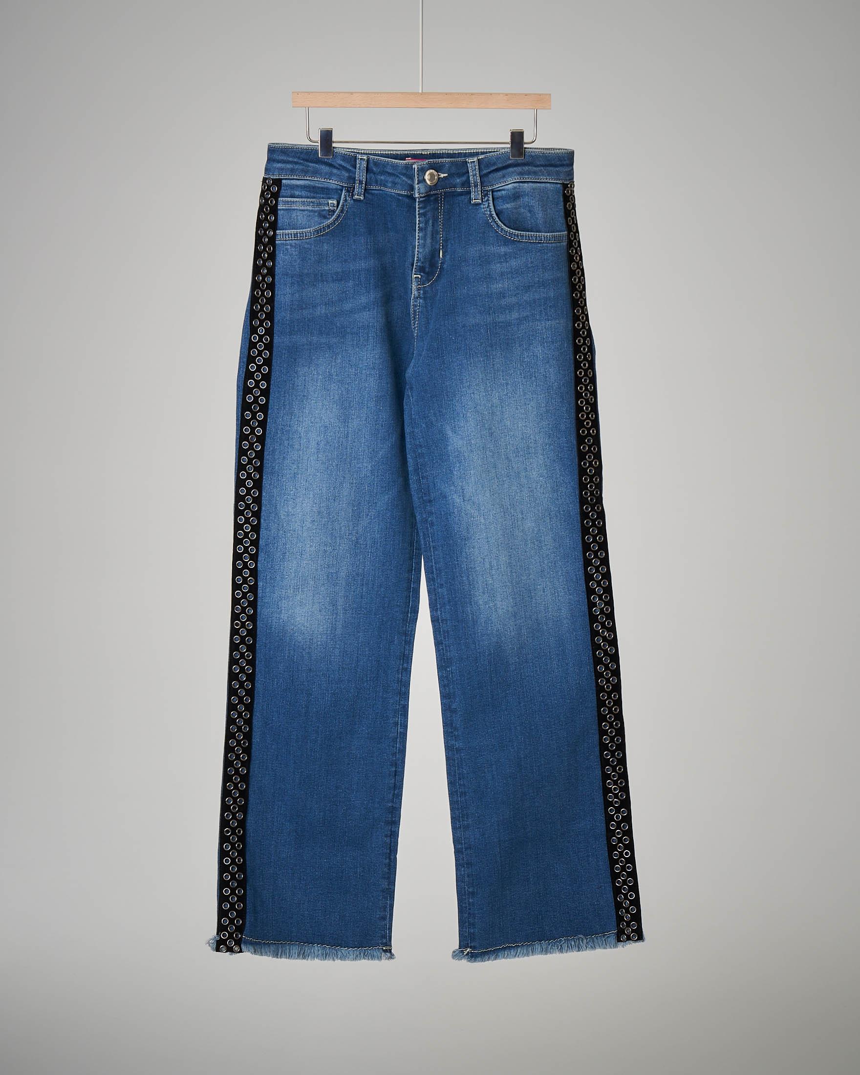 Jeans palazzo con banda