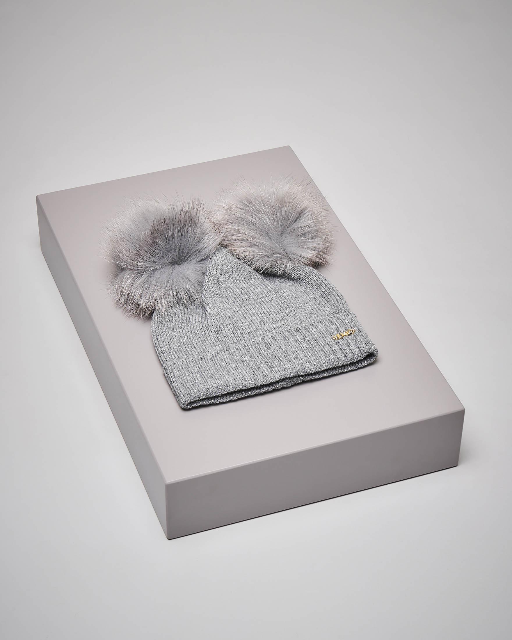 Berretto grigio baby due ponpon
