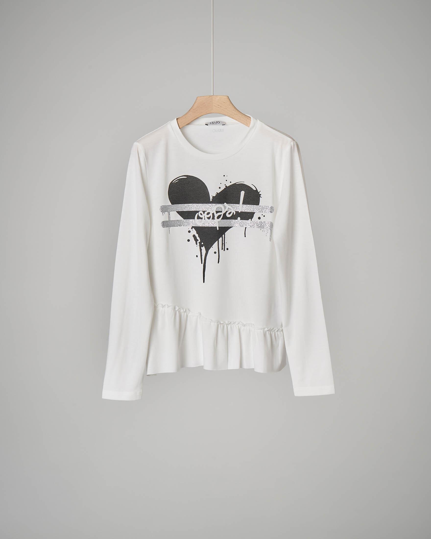 T-shirt bianca cuore