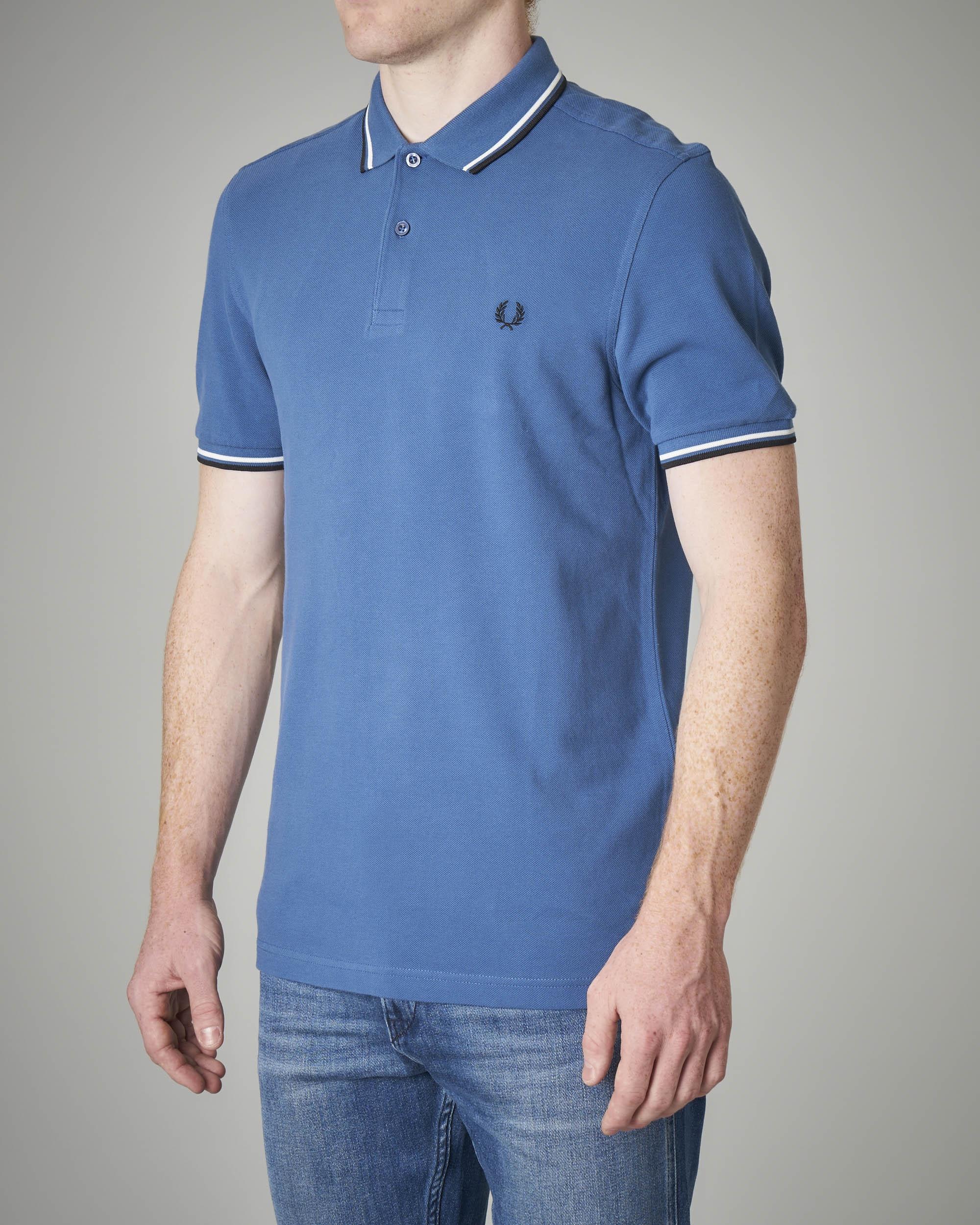 Polo azzurra bordino bicolore