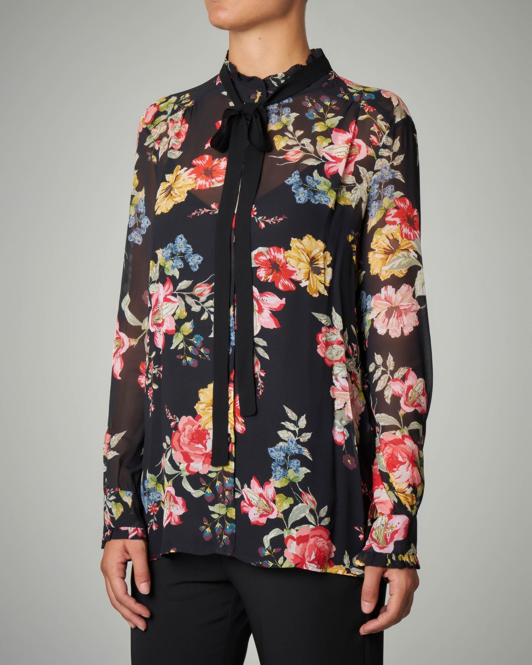 Camicia in georgette stampa floreale