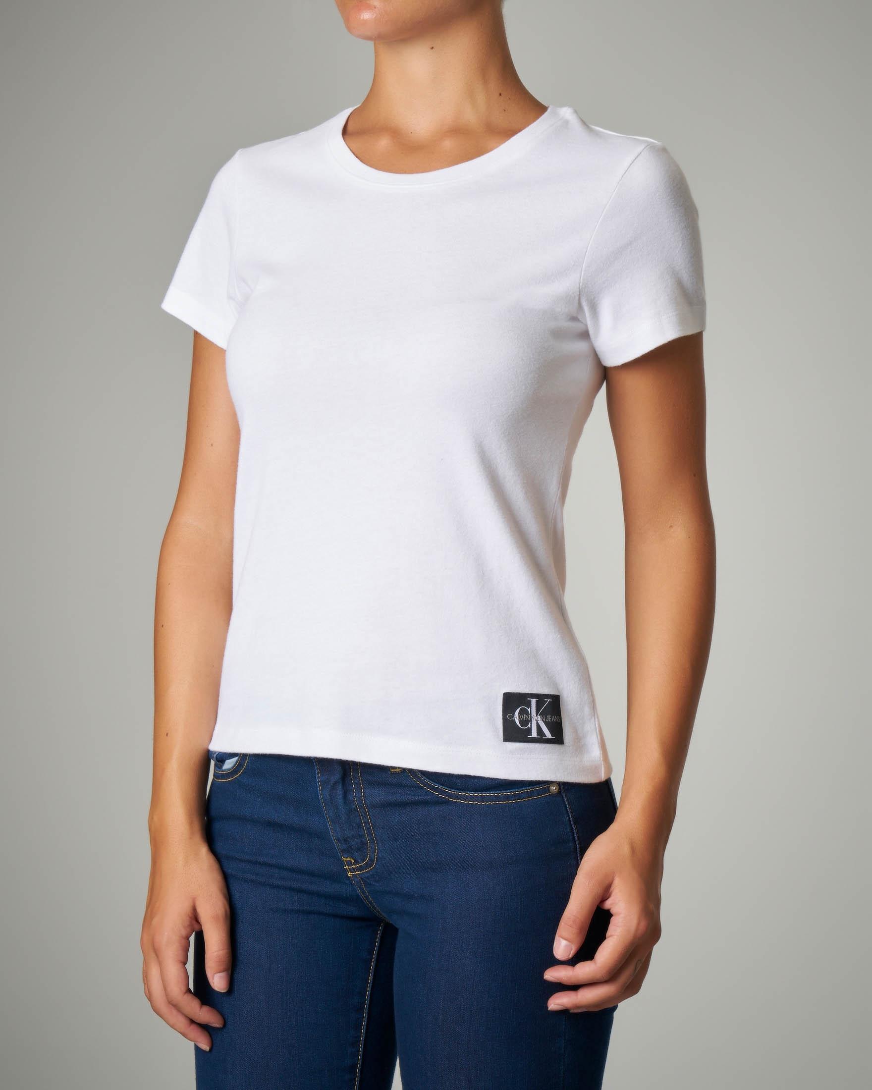 T-shirt bianca in cotone maniche corte