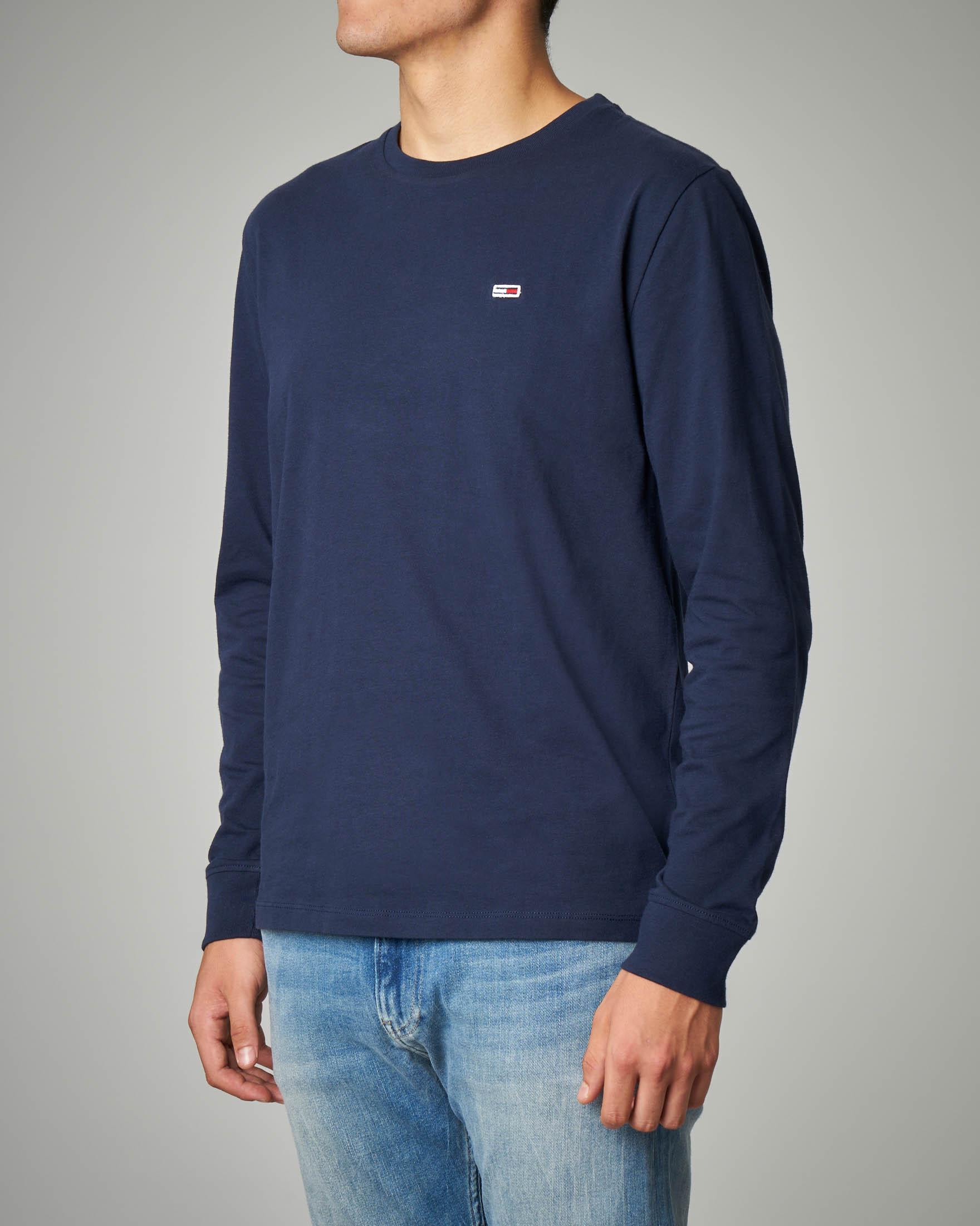 T-shirt blu manica lunga