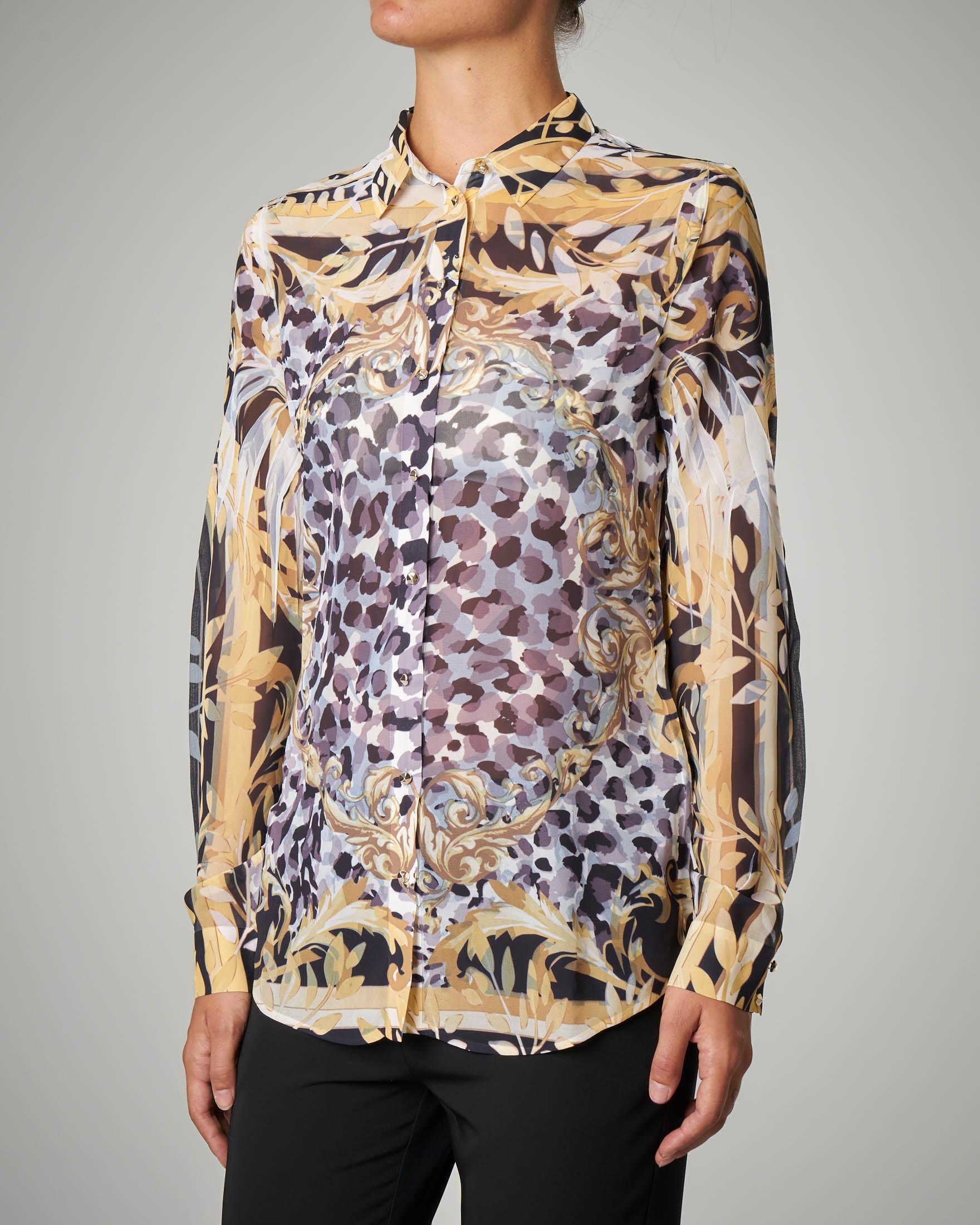 Camicia maniche lunghe stampa stile Versace