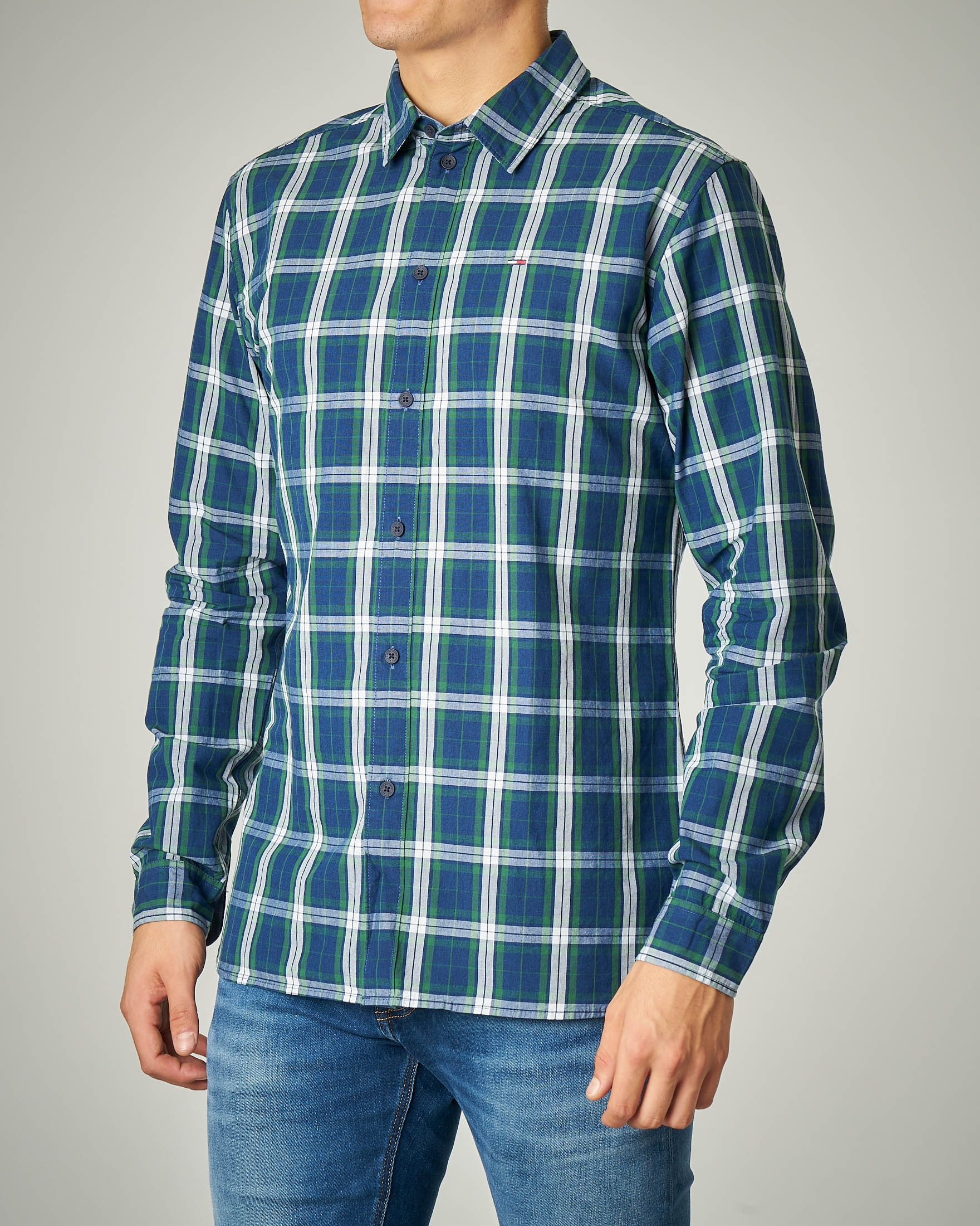 Camicia blu e verde a quadri