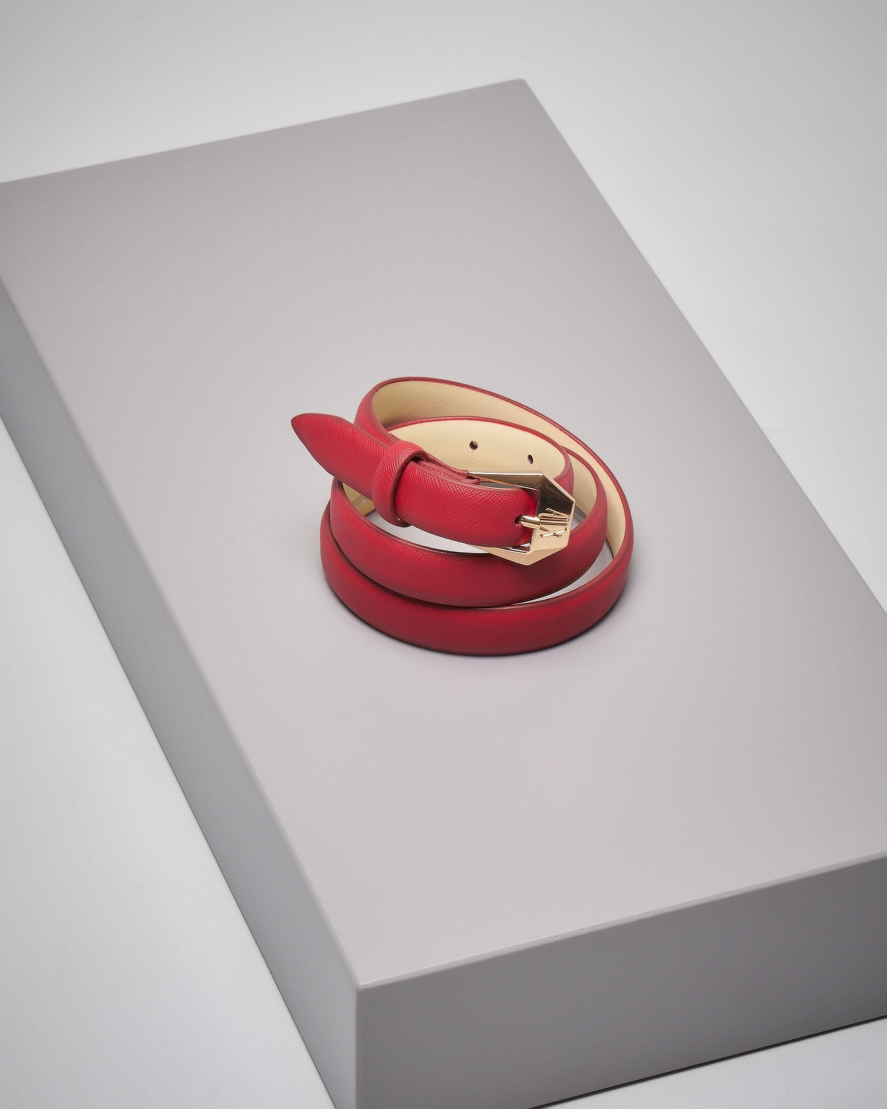 Cintura sottile in pelle saffiano rossa