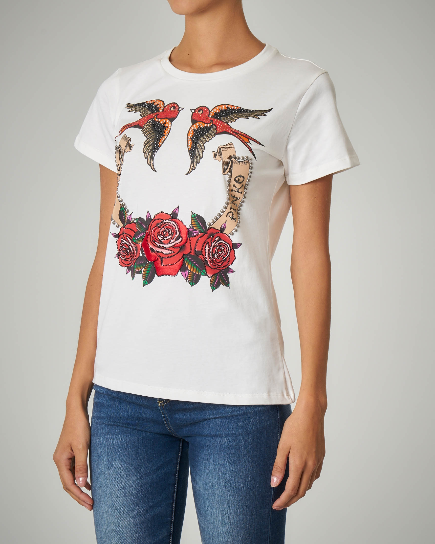 T-shirt mezza manica con stampa e strass