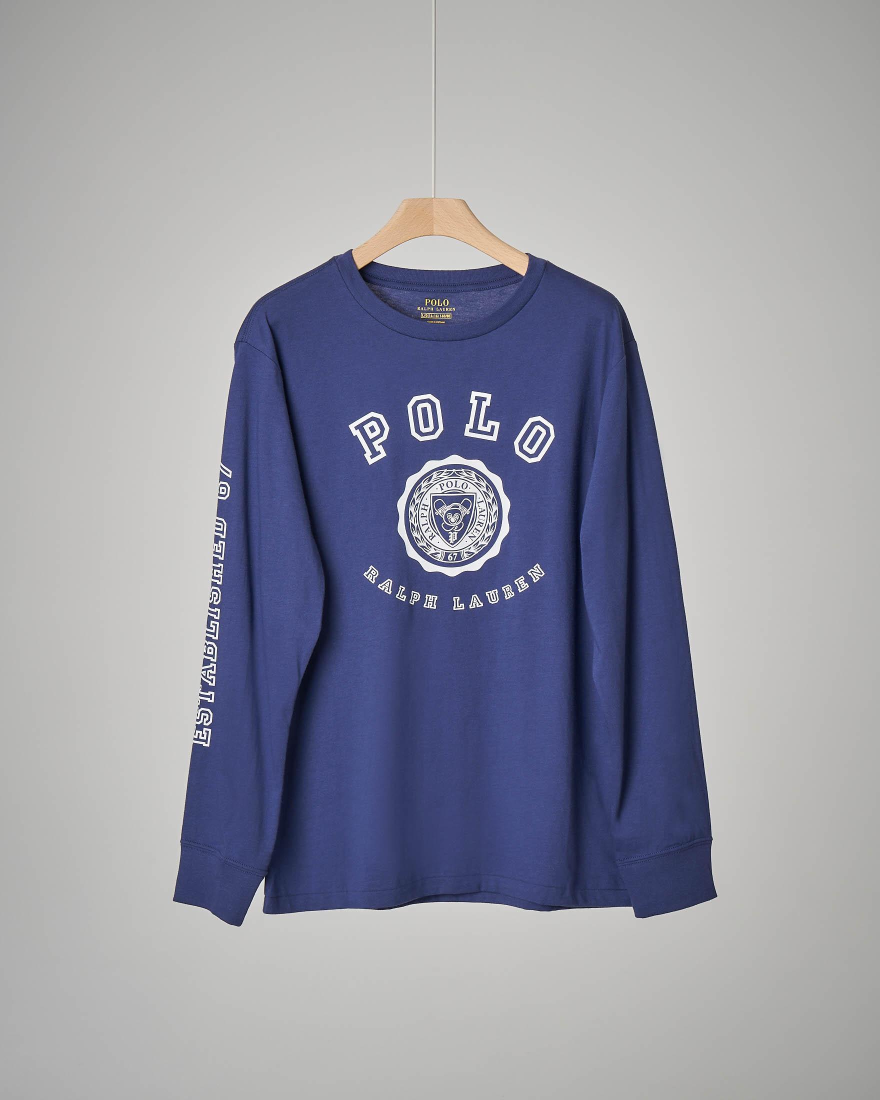 T-shirt blu  con stemma