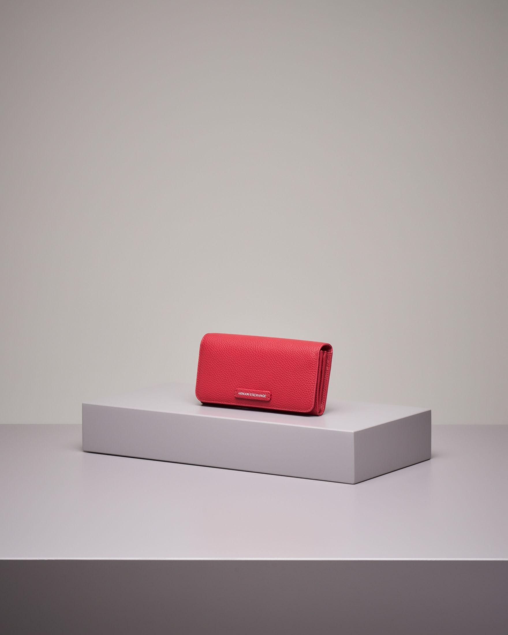 Portafoglio continental rosso in pelle con logo