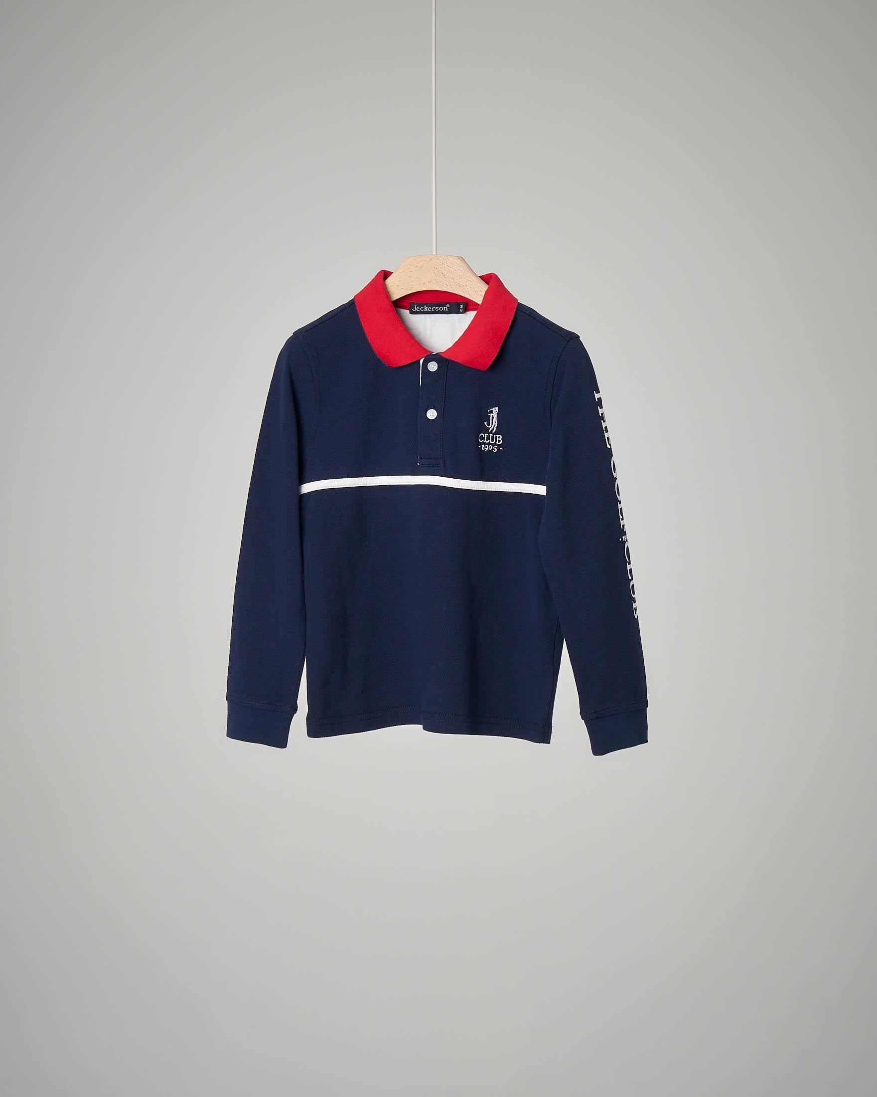 Polo blu a manica lunga con colletto rosso