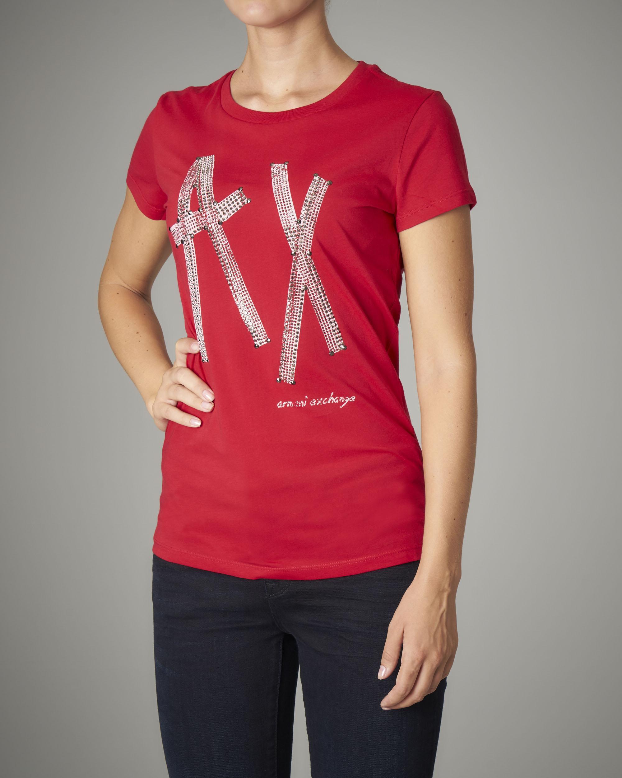 T-shirt rossa in cotone manica corta con logo