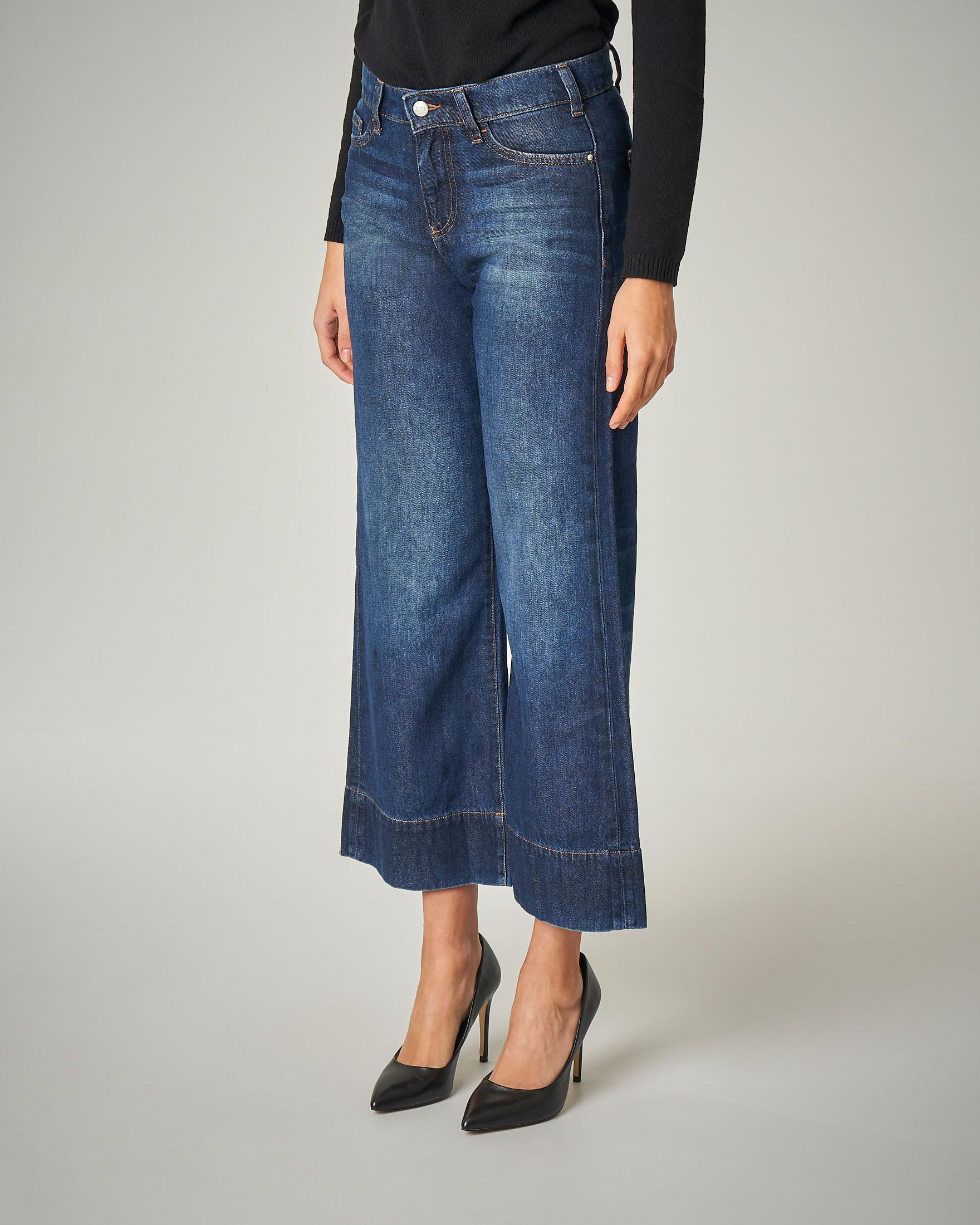 Jeans flare blu stone washed