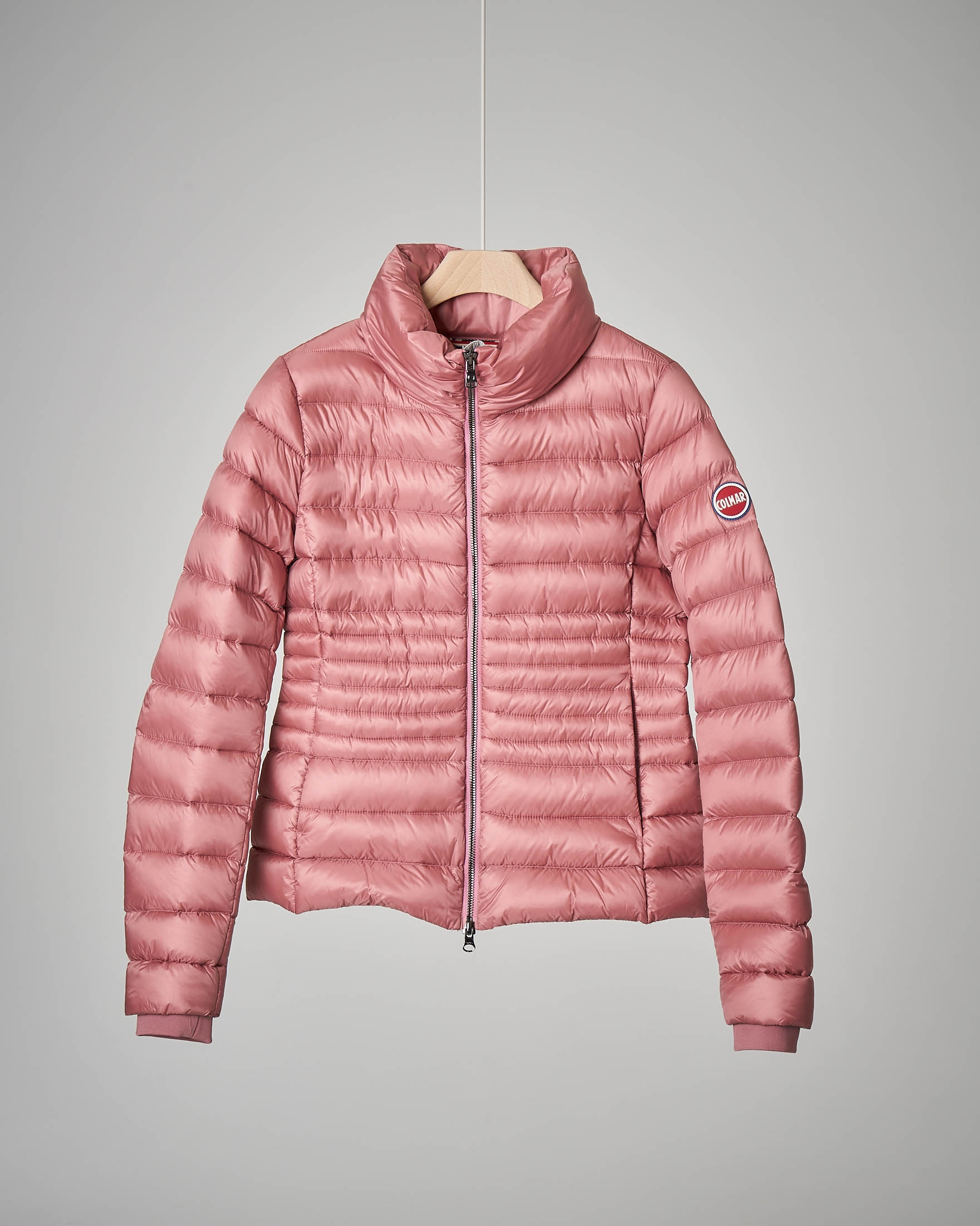 Piumino rosa collo alto