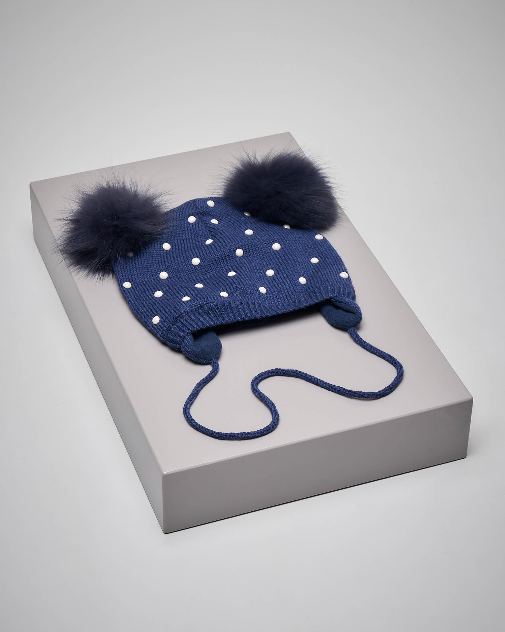 Berretto blu perle neonata