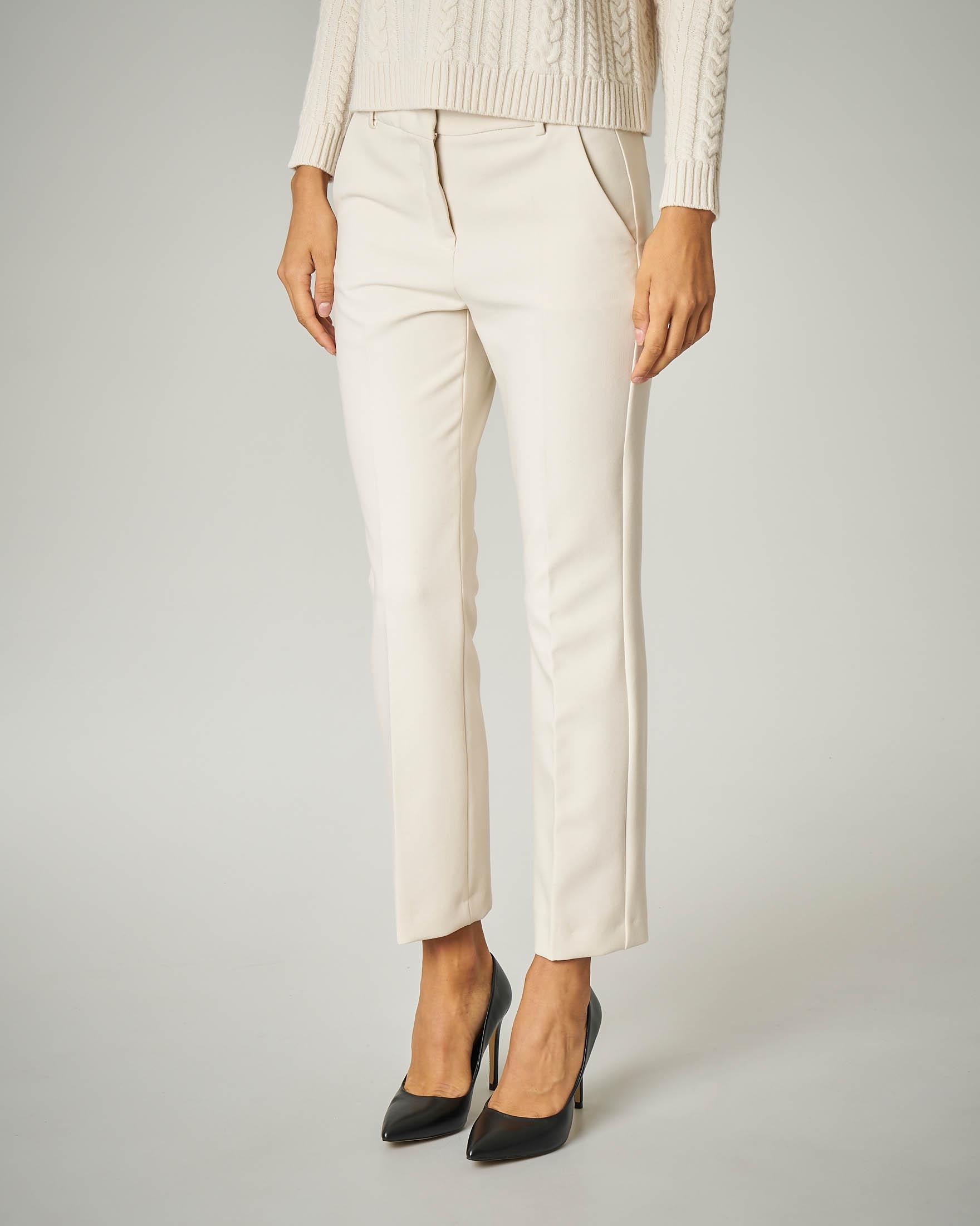 Pantalone avorio in cady