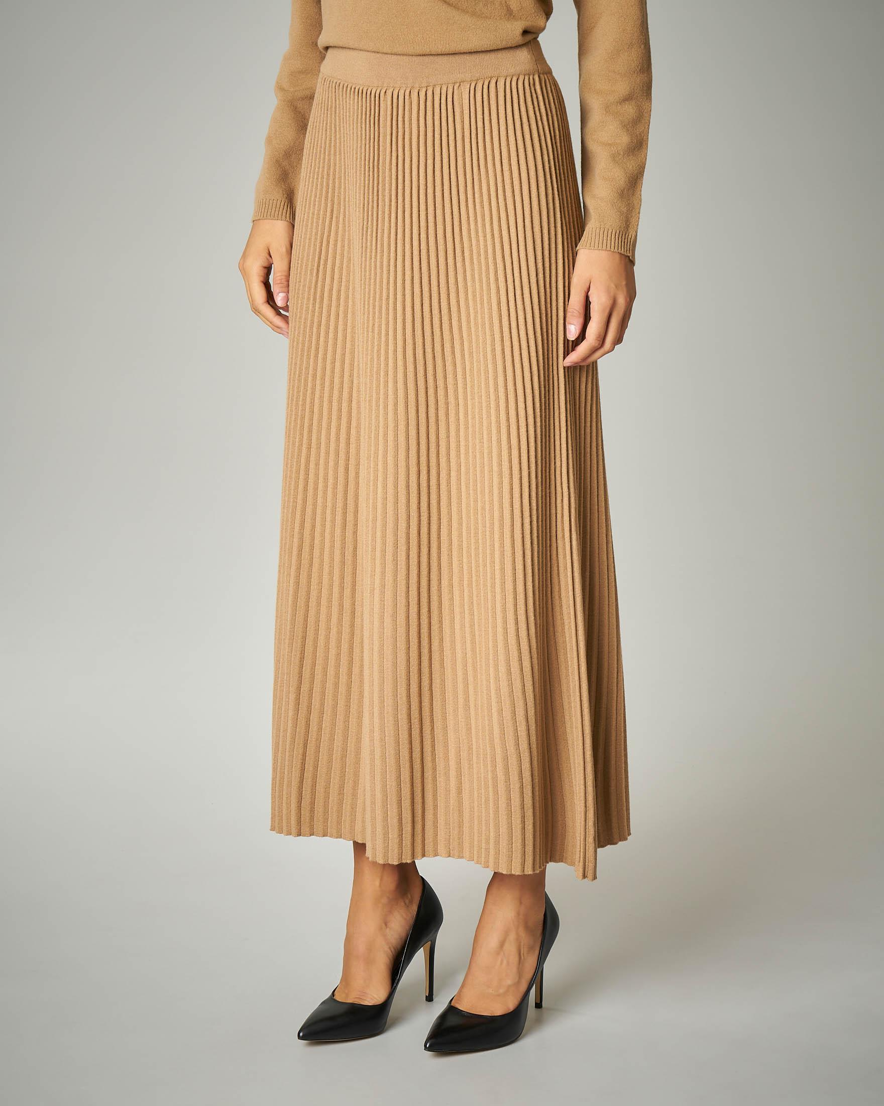Gonna in tricot plissè colore cammello