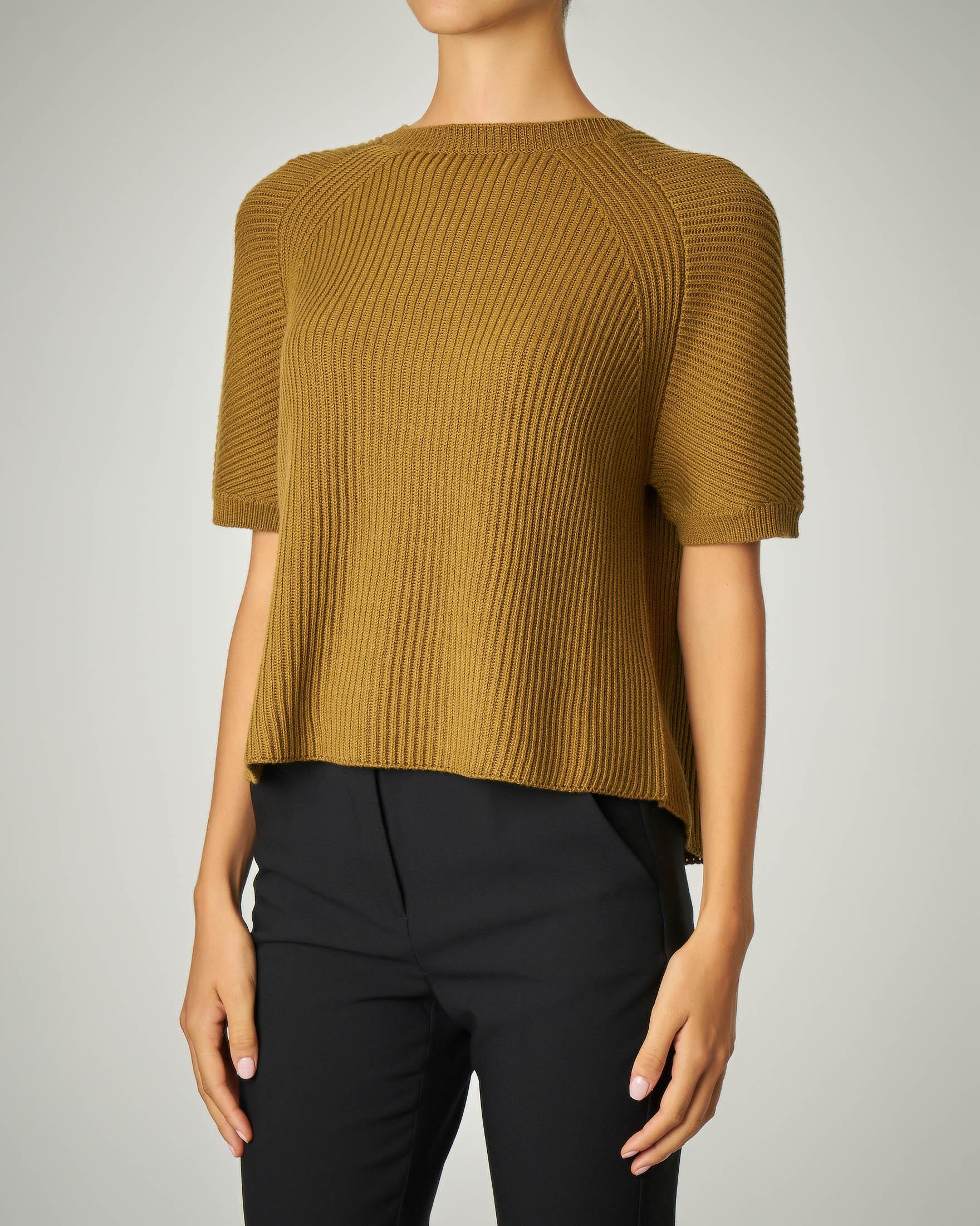 Maglia a coste in cotone e lana