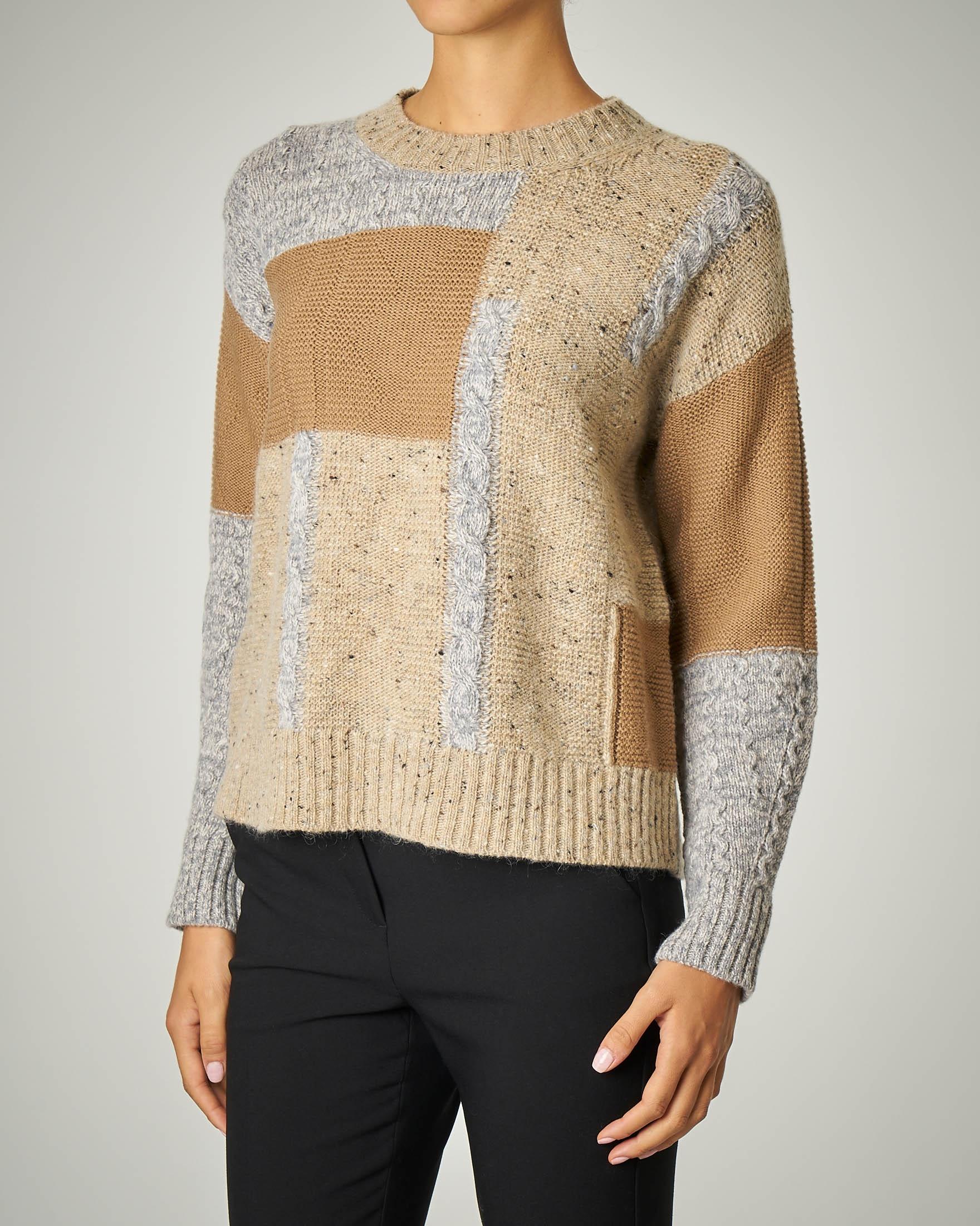 Maglia in lana effetto patchwork
