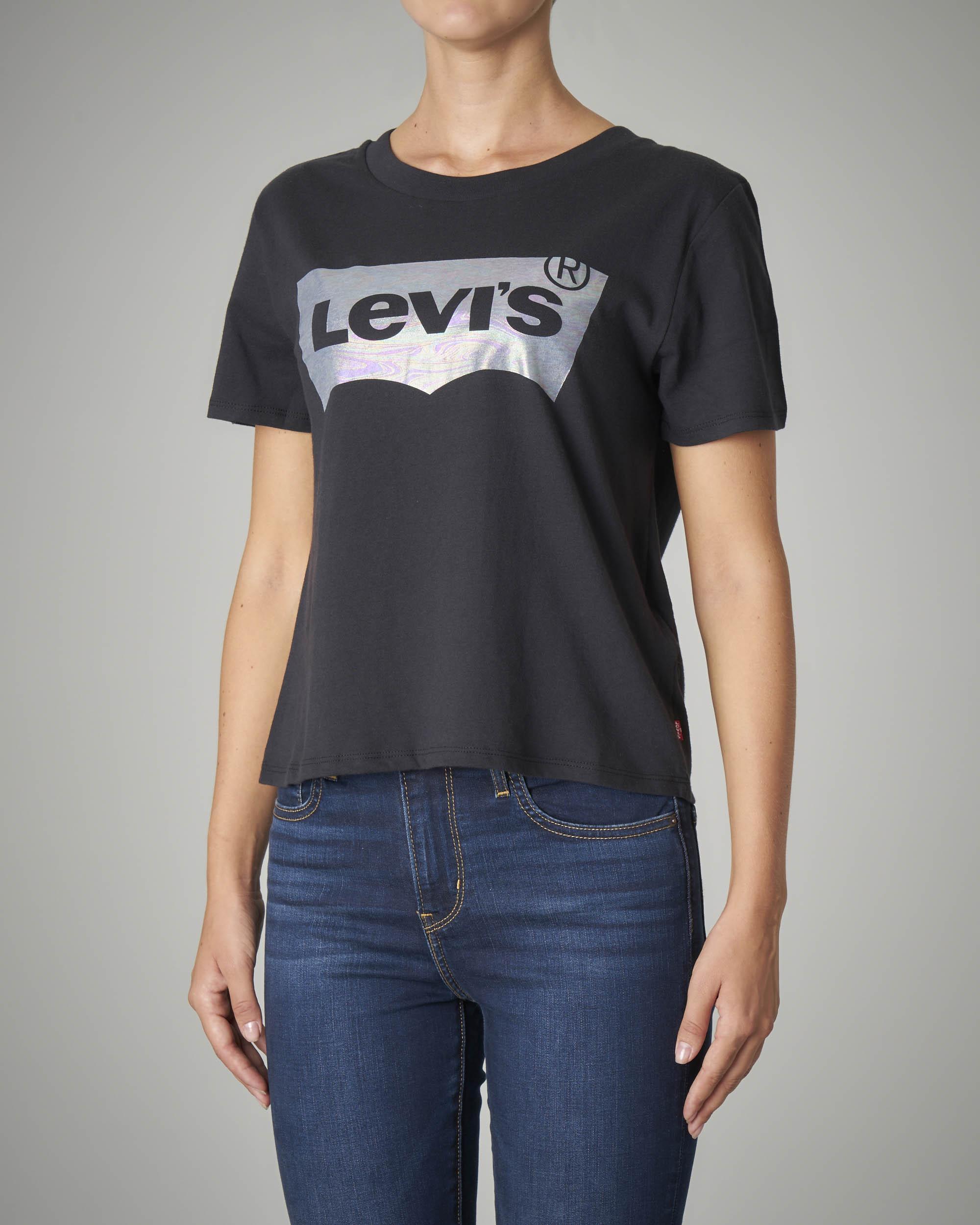 T-shirt girocollo crop nera con logo